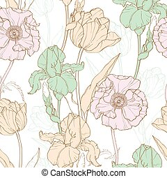 Vector Vintage Flowers Pastel Seamless Repeat Pattern With ...