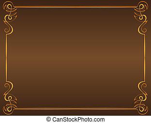Vector vintage frame on a brown background