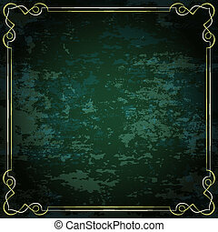 Vector vintage frame on a green background