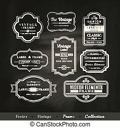 vector vintage frame set on chalkboard background calligraphic design elements