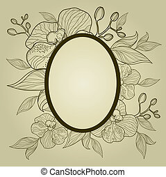 Vector vintage frame with flowers -