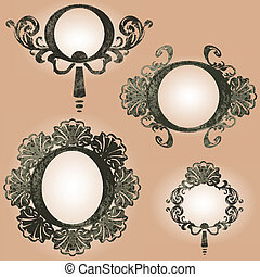 vector vintage frames set