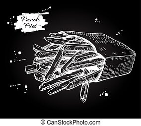 Vector vintage french fries chalkboard drawing. Hand drawn monoc
