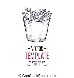 Vector vintage French fries drawing. Hand drawn monochrome fast food illustration.