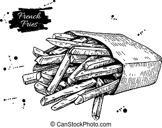 Vector vintage french fries drawing. Hand drawn monochrome fast