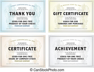 Vector Vintage Gift Certificate Template Set - Easy to edit...
