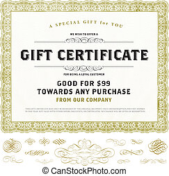 Vector Vintage Gift Certificate Template with Gold Ornaments...