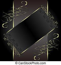 vector vintage gold floral frame with damask background