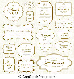 Vector Vintage Gold Frame Set. Easy to edit. Perfect for...