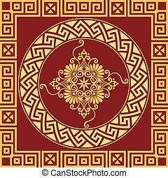 vector vintage gold Greek ornament Meander
