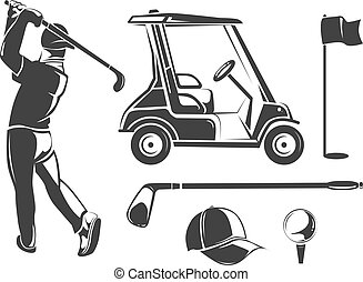 Vector vintage golf elements for labels, emblems, badges and logos