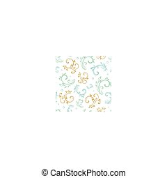 Vector Vintage Green Blue Beige Floral Swirls Seamless Pattern