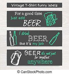 vector vintage hand drawn beer funny set of t-shirt label on wooden desk
