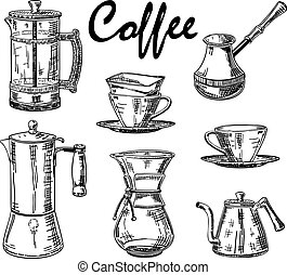 Vector vintage hand drawn coffee set