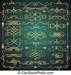 Vector Vintage Hand Drawn Golden Swirls Collection