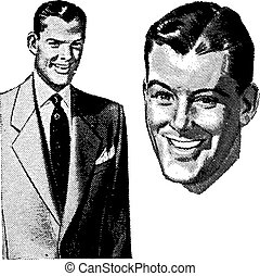 Vector Vintage Handsome Man Graphics. All graphics are...