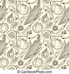 Vector Vintage Healthy Food Sketch Pattern