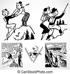 Vector Vintage Hiking Graphics