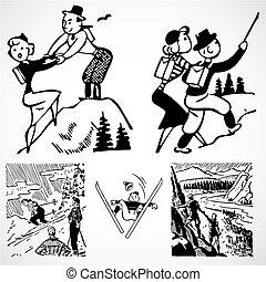Vector Vintage Hiking Graphics