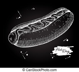 Vector vintage hot dog chalkboard drawing. Hand drawn monochrome