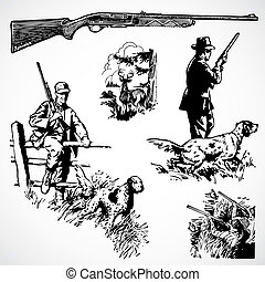 Vector Vintage Hunting Rifles and Graphics - Vintage vector...