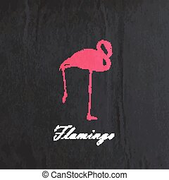 vector vintage illustration of a pink flamingo on the old black