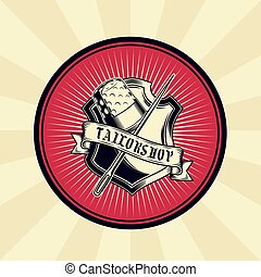 Vector vintage illustration of badge, sticker, sign for tailor s shop with a needle and thimble
