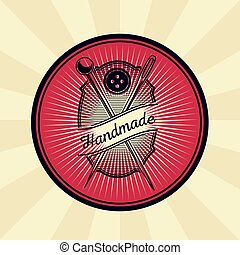 Vector vintage illustration of badge, sticker, sign for tailor s shop with a needle, pin and button