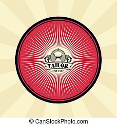 Vector vintage illustration of badge, sticker, sign for tailor s shop with a silhouette of a mannequin