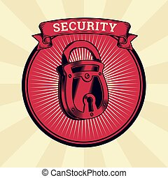 Vector vintage illustration of badge, sticker, sign with the closed lock, the concept of confidentiality