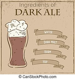 Vector vintage illustration of card with recipe of dark ale. Ingredients are written on ribbons