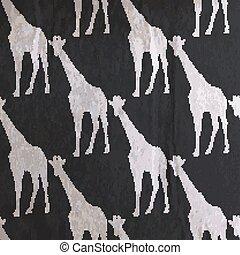 vector vintage illustration of giraffe pattern on the old black