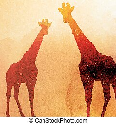 vector vintage illustration of  watercolor giraffes on the old p