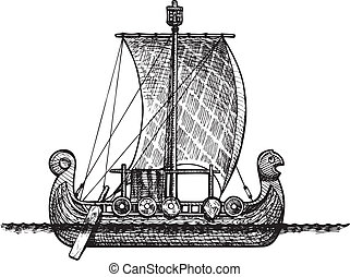 Viking ship - Vector vintage illustration of Viking ship
