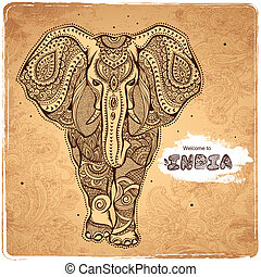 Vector vintage Indian elephant illustration