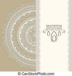 """Vector vintage invitation with white lacy napkin, seamless lacy brushes included, fully editable eps 8 file, standart AI font """"eccentric std"""""""