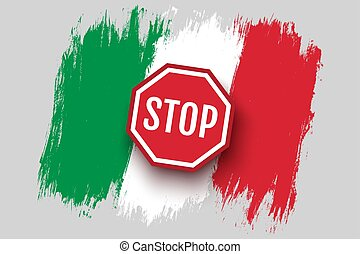 Vector vintage Italian flag with stop sign