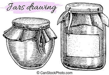 Vector vintage jar set. Hand drawn illustrations.