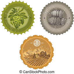 Vector vintage labels with hand drawn elements - viticulture and winemaking