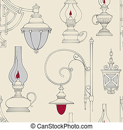 Vector vintage lamp seamless pattern