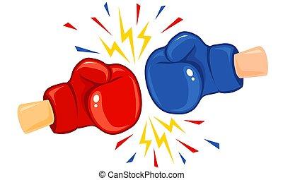 Vintage emblem of two boxing gloves.