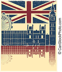 Vector vintage London poster on old background texture with England flag
