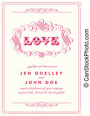 Vector Vintage Love Frame. Easy to edit. Perfect for invitations or announcements.