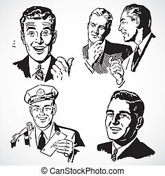 Vintage vector advertising illustrations of happy businessmen.