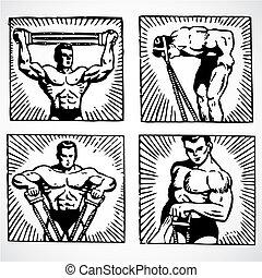 Vector Vintage Men Working Out - Vintage vector advertising...