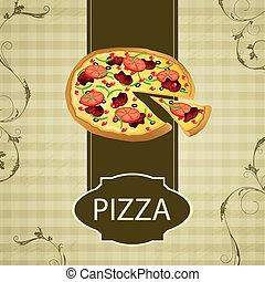 Vector Vintage Menu Card with a Pizza - Vector Illustration...