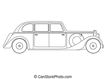 Vector vintage model of car - Vector illustration of the...