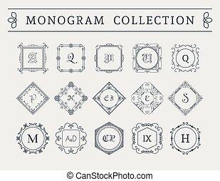 Vector vintage monogram set - Vintage monogram set. Vector...