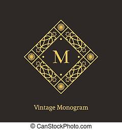 Vector vintage monogram - Vintage monogram. Vector emblem...