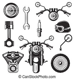 Vector set of vintage motorcycle symbols, icons isolated on white background. Black templates for logos and print.